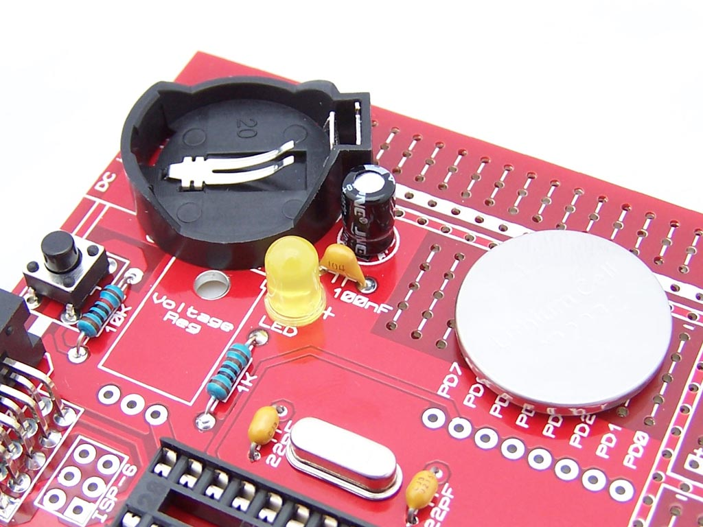 5 Ways to power an AVR 28 pin board - CR2032 Coin Cell