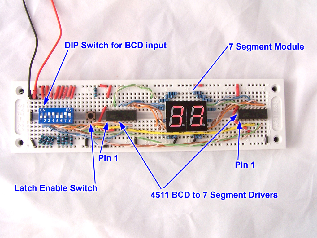 Driving A 7 Segment Display With 4511 Bcd To Driver Counter Circuit On Breadboard