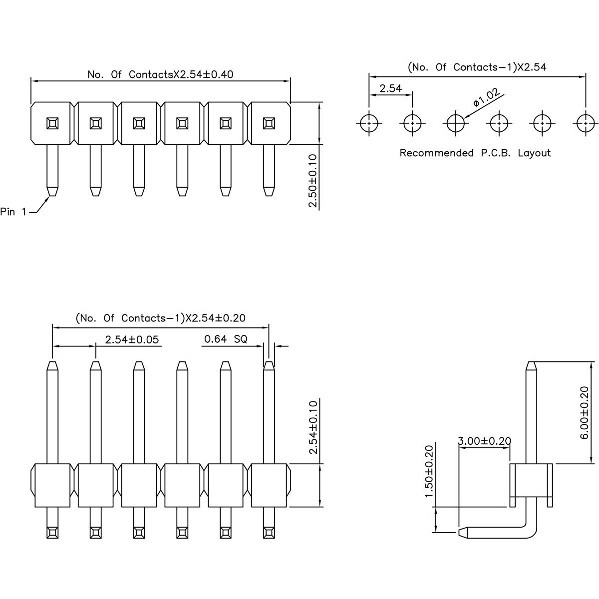 40 pin 2 54mm snappable single row right angle header
