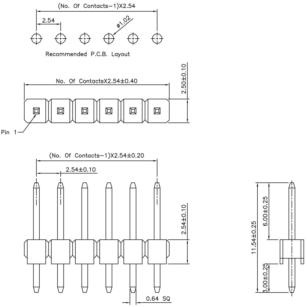 40 pin 2 54mm snappable single row header