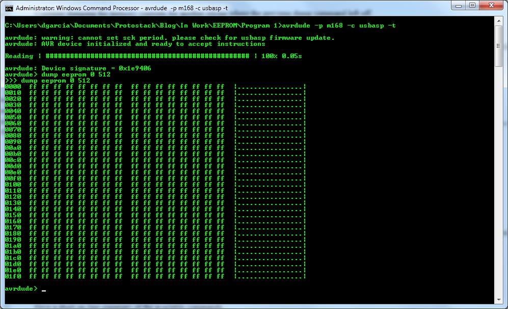 Reading and writing Atmega168 EEPROM - Protostack