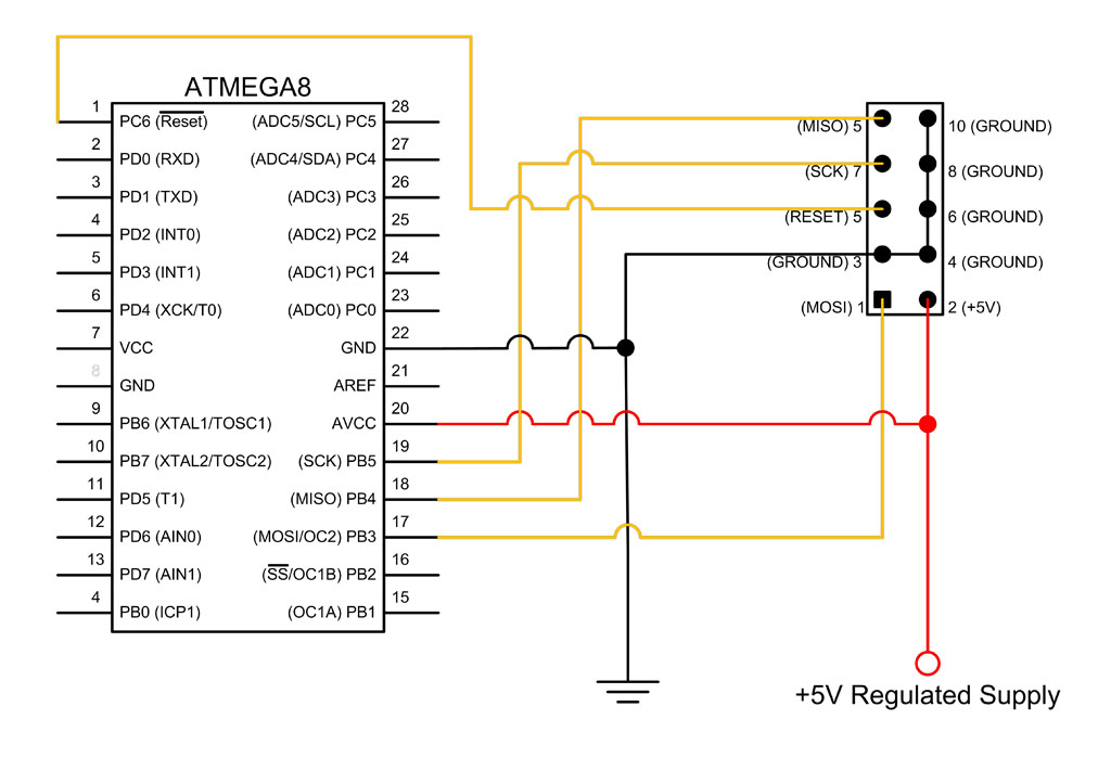 atmega8 breadboard circuit part 2 of 3 the microcontroller rh protostack com au  atmega8 programmer circuit diagram