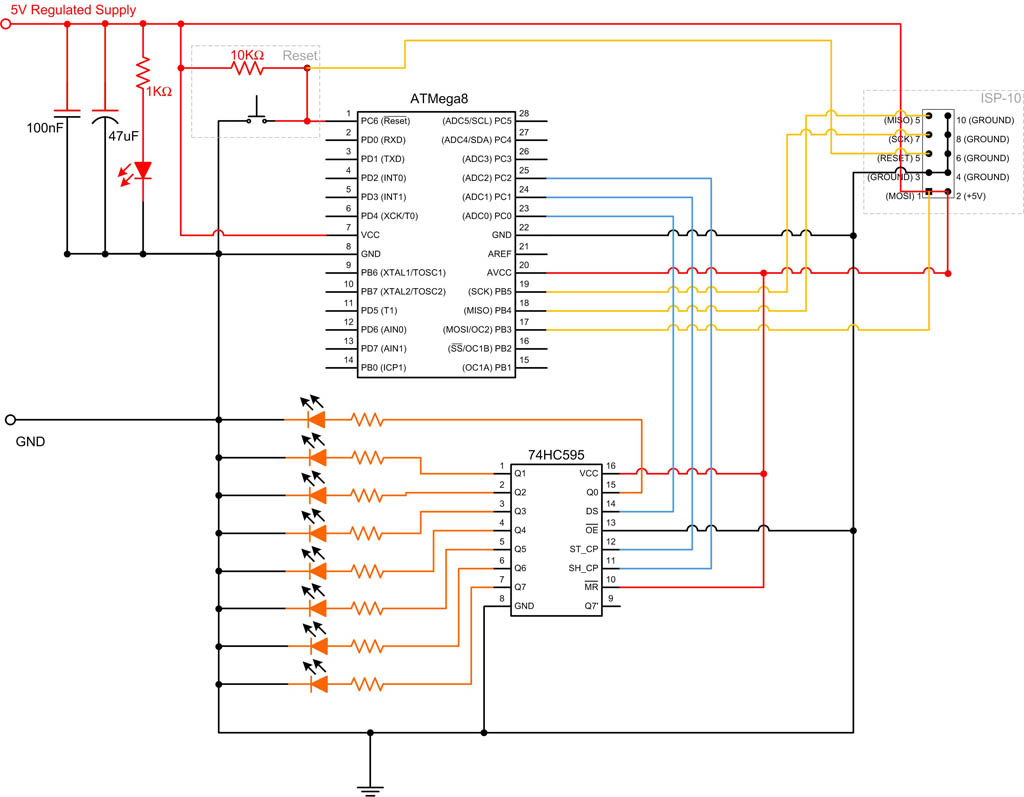 595 shift Register Circuit Diagram